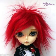 "MSD DOC 1/4 Bjd Dollfie Hujoo Berry Doll 7-8"" Punk Fur Wig Red"