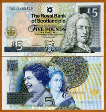 Scotland, 5 pounds, 6-2-2002, P-362, QEII, UNC   Commemorative Golden Jubilee