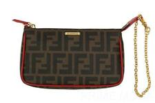 NEW FENDI FF ZUCCA RED TRIM LOGO SMALL POUCH CLUTCH WRISTLET BAG PURSE