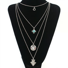 Silver Multi Layer Arrow Turquoise Coin Pendant Chain Necklace Choker Vintage@