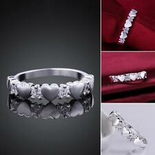 Ladies Fashion Jewelry 925 Silver Zircon Heart Contracted Ring UK Size Q