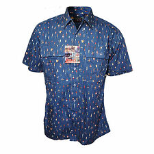 Fly Fishing Lure Shirt Mens Large Coleman Fish Print Short Sleeve Button Front L