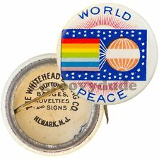 Vintage 1900's World Peace Flag Universal Congress Original Pin Button Pinback