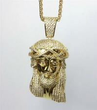 Stainless Steel Gold Plated Jesus Piece Pendant And Wheat Chain Necklace