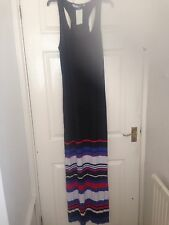 Ladies Black Red White Sleeveless Razor Back Maxi Dress Size 14 E-vie BNWT