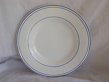 "Pottery Barn Bistro Blue & White Ring Large Dinner Plate Dish Platter 12"" RARE!"