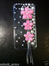 3D The Flowers Pink Swarovski Crystal Bling Case Handmade iPhone 5 5S Hard Cover
