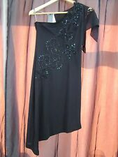 BNWT £45 UK 12 River Island Dress Black One Shoulder Knee Length Flower Beads
