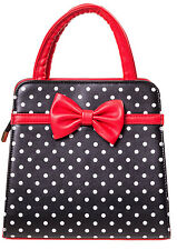 Banned Rockabilly 50s Vintage Polka Dot Bow Purse Handbag Black Christmas Red