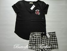 NWT HOLLISTER by Abercrombie 2pc Pajama Set Sleep Tee and Flannel Shorts Black L