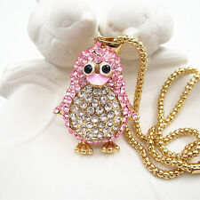 Gold Plated Pink Crystal Cute Penguin Pendant Sweater Necklace Chain For Gift
