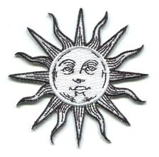 SUN black & white face EMBROIDERED IRON-ON PATCH **FREE SHIPPING** -c p3500