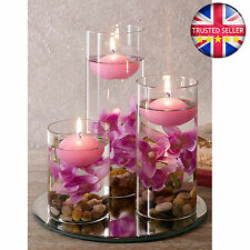 Set x3 Lilac Floating Candles Decorative Glasses Filled with Pebbles & Flowers