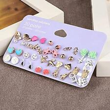 20 Pairs Crystal Pearl Bird Cross Flower Love Heart Ear Stud Earrings Jewelry