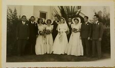 Vintage Old 1940s Wedding Photo Party Hollywood Style Fashion Dresses Hats Bride