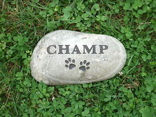 Pet memorial headstone- engraved river rock personalized to your pet