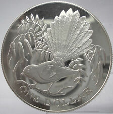 1980 New Zealand Large Proof Silver $1 Fantail Bird