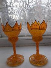 Fairy Flower Wine Goblets Golden Glasses Boho Hippy Handpainted Gift Pixie Faery