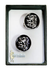DELUXE TRADITIONAL SCOTTISH DESIGN CUFFLINKS - LION RAMPANT BLACK ENAMEL