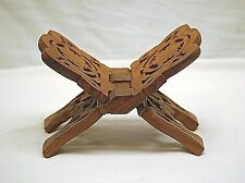 Old Vintage Wood Wooden Book Stand Hand Carved Bible Display Cookbook Holder