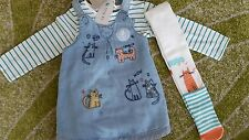 Next girls Cat range 3 Piece set dress top tights  9-12 months