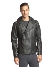 LOT78 Box Zip Front Men's Leather Motor Biker Jacket MADE IN ITALY $1200 NEW L