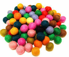 Yarn Place Felt Pure Wool Balls 100 Beads 15mm Mixed Colors Craft Lot