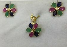 14k Solid Yellow Gold Set Earrings and Pendant w/ Natural Ruby Sapphire Emerald