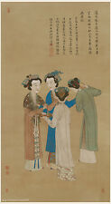 Chinese old scroll painting Royal ladies by Tang yin / Tang BoHu in Ming dynasty