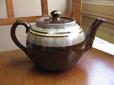 Vintage Sudlow's Burslem England Pottery Brown Betty Marbled Band Teal Teapot