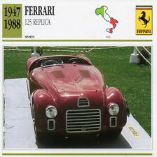 1947-1988 FERRARI 125 Replica Sports Classic Car Photo/Info Maxi Card