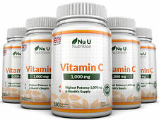 Vitamin C 1000mg Nu U 5 bottles High Strength 900 Tablets 100% Guarantee