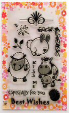 Cute animals ~ Cow and Sheep ~ clear stamps set vintage FLONZ 129 rubber acrylic