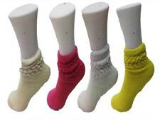 4 Children's Cotton Rich Slouch Socks Gym Aerobic Casual White Yellow Cream Pink