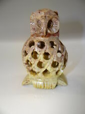 HAND CARVED STONE OWL WITH CARVED OWL INSIDE