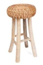 BAR / COUNTER  STOOL - TIMBER LEGS AND WATER HYACINTH SEAT - 65 H X 34 W CM