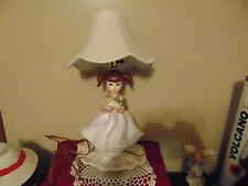 VTG Pink/wh Ceramic Mold Doll Lamp Brown Eyed Girl Pony Tails Daffodil Narcissus