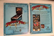 2 1988 WILLIAMS SWORDS OF FURY FACTORY ORIGINAL PINBALL FLYERS MINT