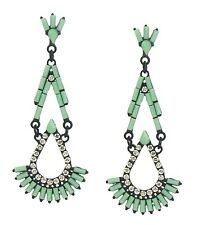 Earrings mint green black rhinestone Long Stud by Ella Jonte new arrival ;0)