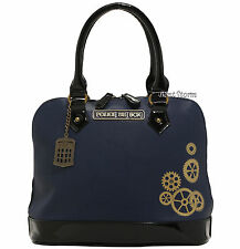 BBC DR Doctor Who Navy Blue TARDIS Satchel Bag Had Bag Purse Gold Color Gear NEW