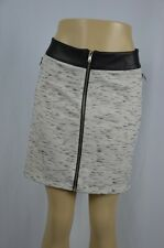 Rock & Republic Womens XL Gray Black Zip Up Mid Thigh Faux Leather Skirt