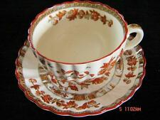 SPODE ENGLAND INDIAN TREE FOOTED CUP & SAUCER OLD BACKSTAMP ORANGE RUST SCALLOP