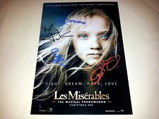 "LES MISERABLES CAST X4 PP SIGNED 12""X8"" POSTER HUGH JACKMAN ANNE HATHAWAY"