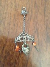 Chinese Asian Export Silver Charm Pendant 2 Fish , Basket, Carnelian Agate Beads