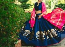 SOPHISTICATED ELEGANT DESIGNER BLUE AND PINK BANGALORY SILK UNSTITCHED LEHENGA