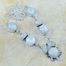"""Fire White Rainbow Moonstone Opal Pure 925 Sterling Silver 20.5"""" Necklace Y79529"""