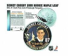 SIDNEY CROSBY 2005 ROOKIE MAPLE LEAF 1 OUNCE FINE SILVER COIN 87 MADE #1 DRAFT !