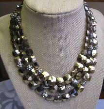 Vintage Rhinestone Disco Ball and Gold Glass Bead NECKLACE Multi strand COUTURE