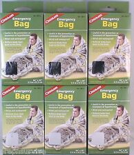 "6 PACK EMERGENCY BAG-WIND & WATER PROOF REFLECTS HEAT TO BODY AND HEAD 36""X 84"""