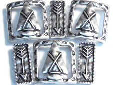 6 - 2 HOLE BEADS SILVER NATIVE INDIAN WESTERN SOUTHWESTERN ARROW HEAD & ARROWS